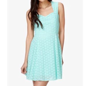 Forever 21 fit and flare eyelet mint dress, small